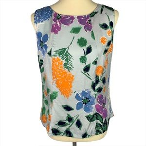 Boden Floral Silk Blend Button Back Sleeveless Top